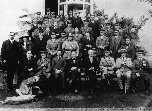 ca. 1921, Cairo, Egypt --- The delegates of the Mespot Commission at the Cairo Conference. The group was set up by Colonial Secretary Winston Churchill to discuss the future of Arab nations. --- Image by ? Hulton-Deutsch Collection/CORBIS