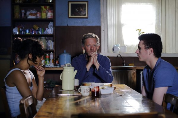 IONA 6 - Daniel (Douglas Henshall), Iona (Ruth Negga) and Bull (Ben Gallagher) at the kitchen table