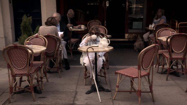 peggy outside cafe